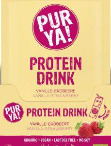 PUR YA! BIO vegan Protein Drink Erdbeer-Vanille, 30 g Portionsbeutel, Getränkepulver