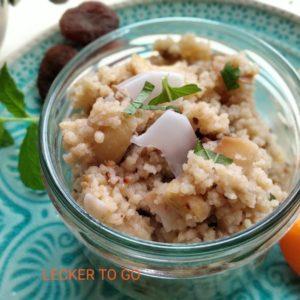 Bio Couscous orientalisch-süß, mit Früchten, Cashew und Kokos, vegan, 200g, Pfandglas