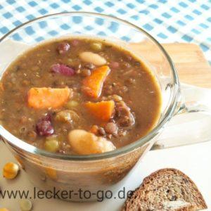 Bio Bunter Hülsenfrüchte-Eintopf mit Süßkartoffeln und Schabzigerklee, vegan, 400 gr Pfandglas